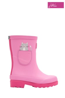 Joules Pink Cat Printed Welly