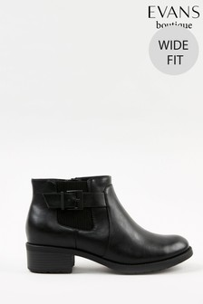 Evans Curve Extra Wide Fit Black Elastic Buckle Ankle Boots