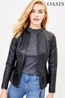 Oasis Black Leather Collarless Jacket