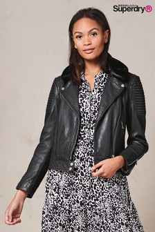 Superdry Black Leather Jacket