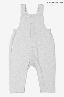 Polarn O. Pyret Grey Organic Cotton Baby Dungarees
