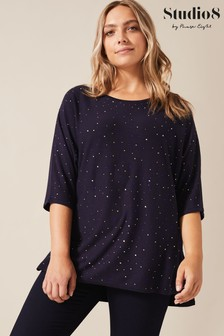 Studio 8 Blue Erin Stud Knit Top