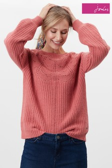 Joules Pink Jenna Knitted Pointelle Stitch Jumper