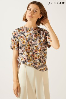 Jigsaw Pink Sunbleached Floral Silk Top