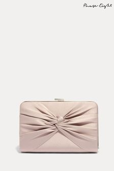 Phase Eight Brown Kendall Satin Clutch Bag