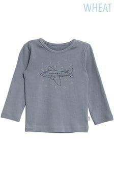 Airplane Weizen Blaues T-Shirt