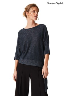 Phase Eight Navy Harper Shimmer Tie Side Knit Jumper