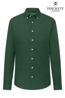 Hackett Green Slim Fit Garment Dye Oxford Shirt