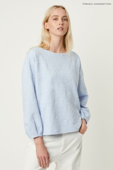 French Connection Blue Sicily Texture Jersey Sweat Top