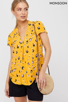 Monsoon Yellow Lauren Leopard Print Blouse