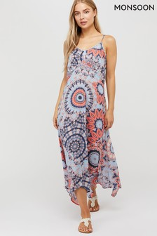 Monsoon Blue Sierra Tie Dye Midi Dress