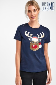 Womens Matching Family Flippy Sequin Rudolph T-Shirt