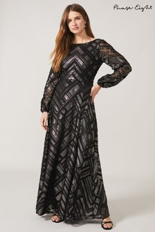 Phase Eight Black Madeliene Chevron Maxi Dress