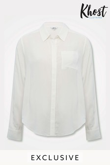 Khost Cream Plain Button Side Shirt