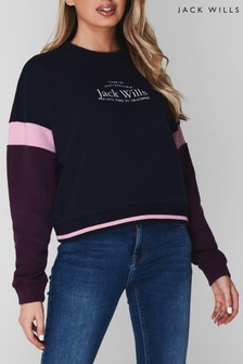 Jack Wills Navy Naja Colourblock Cropped Crew Neck Sweater