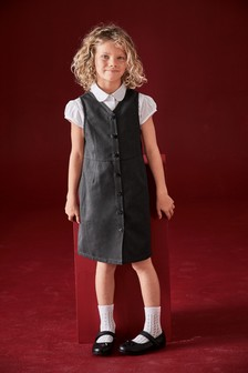 Heart Button Through Pinafore (3-14yrs)