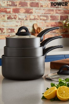 3 Piece Saucepan Set by Tower