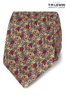 T.M. Lewin Yellow Retro Ditsy Floral Silk Slim Tie