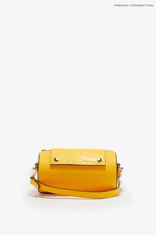 French Connection Safflower Yellow Rolo Croc Barrel Bag