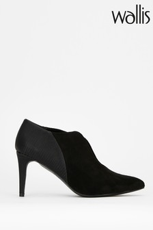 Wallis Canary Black Pointed V Throat Shoe Boots