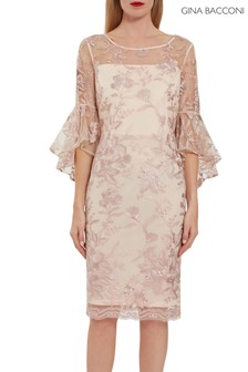 Gina Bacconi Pink Graciana Embroidery Dress