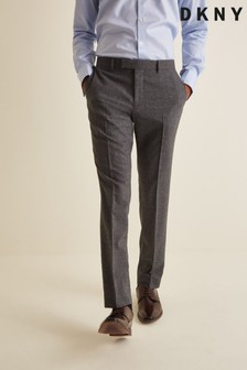 DKNY Grey Slim Fit Texture Trousers