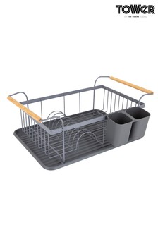 Tower Scandi Dish Rack With Wooden Handles