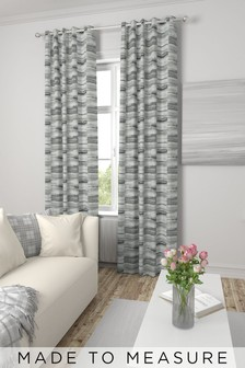 Chenille Block Stripe Mono Grey Made To Measure Curtains