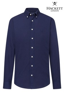 Hackett Blue Slim Fit Garment Dye Oxford Shirt