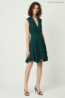 French Connection Green Carrabelle Crepe V-Neck Dress
