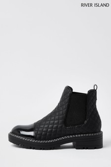 River Island Black Quilted Chelsea Boots