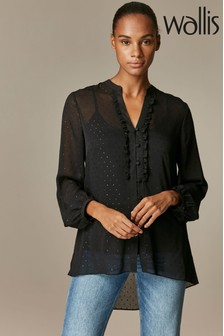 Wallis Black Dobby Ruffle Front Shirt