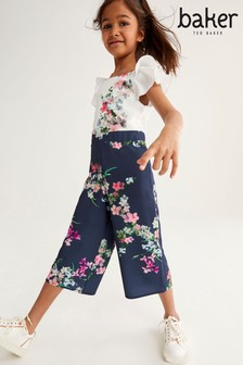 Baker by Ted Baker Girls Navy Floral Culotte Jumpsuit