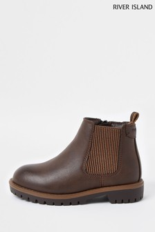 River Island Brown Clumpy Chelsea Boots