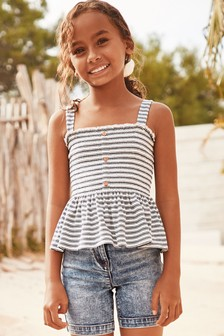 Strappy Shirred Vest (3-16yrs)