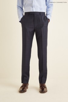 French Connection Blue Slim Fit Check Puppytooth Trousers