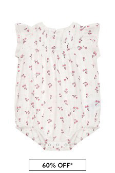 Bonpoint Baby Girls Cream Cotton Romper