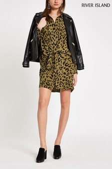 River Island Khaki Leopard Print Shirt Dress