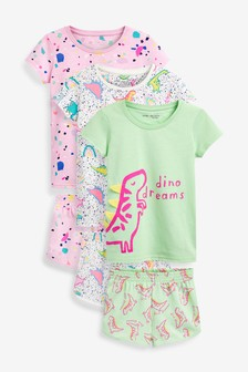 3 Pack Appliqué Fluro Dinosaur Short Pyjamas (9mths-8yrs)