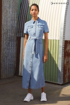 Warehouse Blue Western Denim Dress