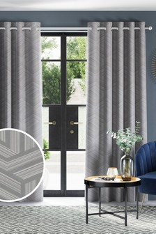 Metallic Geo Jacquard Eyelet Curtains