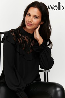 Wallis Black Lace Ruffle Top