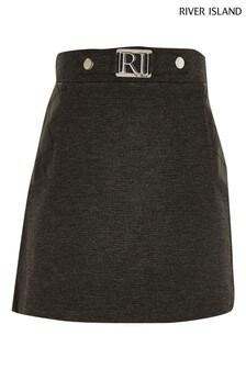 River Island Grey Dark Ponte Mix Skirt