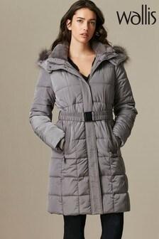 Wallis Black Faux Fur Collar Quilted Coat