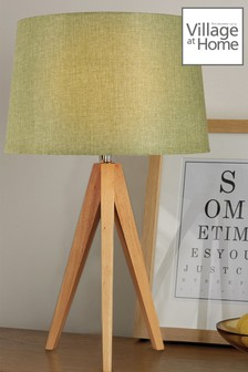 Village At Home Wooden Tripod Lamp