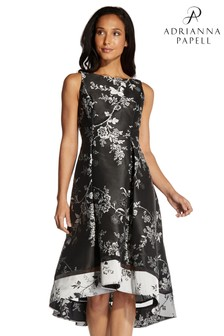 Adrianna Papell Black Floral Jacquard Cocktail Dress