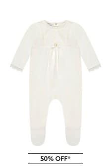Baby Unisex Cream Cotton Babygrow