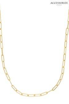 Accessorize Gold Tone Z Plain Paper Clip Chain Necklace