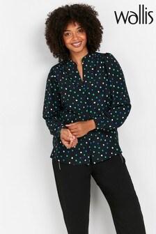 Wallis Green Polka Dot Print Shirt