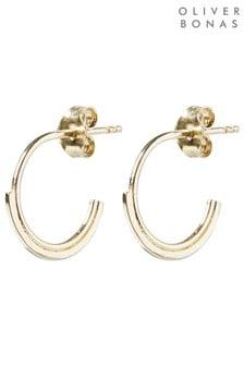 Oliver Bonas Split Lines Linear Hoop Earrings